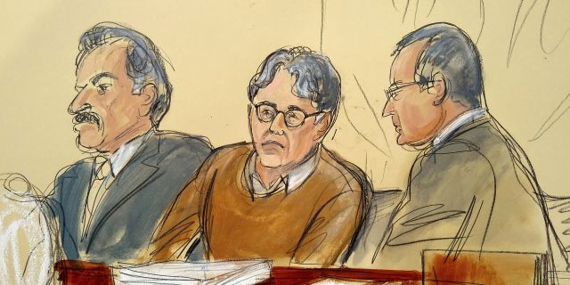 FILE - In this Tuesday, May 7, 2019, file courtroom drawing, defendant Keith Raniere, center, leader of the secretive group NXIVM, is seated between his attorneys Paul DerOhannesian, left, and Marc Agnifilo during the first day of his sex trafficking trial. (Elizabeth Williams via AP, File)