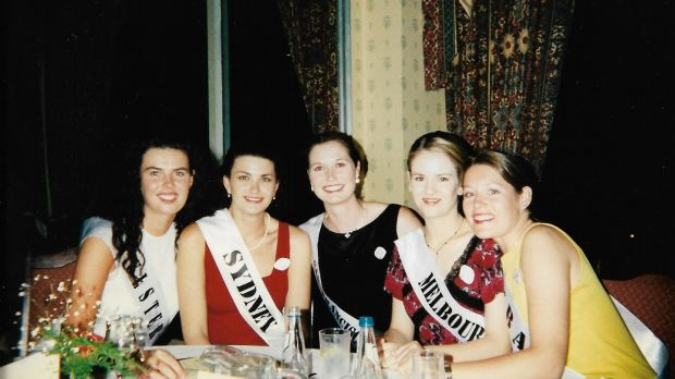 Maureen Bartee (centre) with other Roses at the Rose Ball in 1997