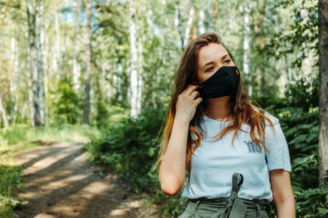 Safe outdoor activities with face mask