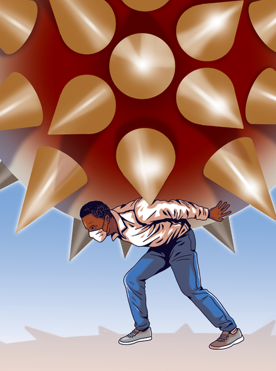 Illustration shows a black man with a mask carrying a large spiky coronavirus on his back.