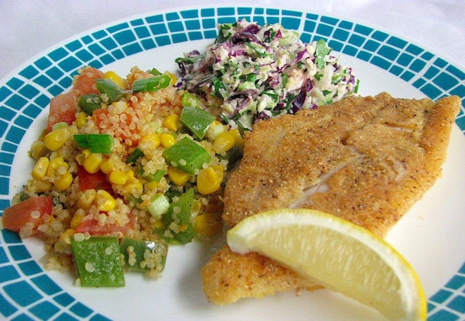 Catfish, corn and quinoa stir fry, and greens with cilantro lime slaw.