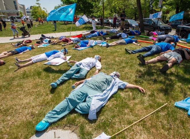 In May, health care workers in Montreal held a demonstration demanding time off for COVID-19 fatigue.