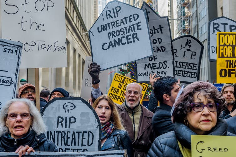 Demonstrators protesting for