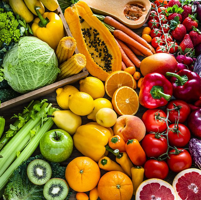 healthy fresh rainbow colored fruits and vegetables background