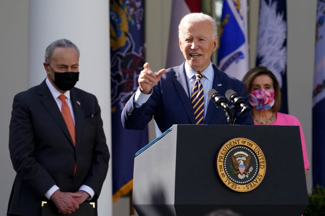 President Joe Biden speaks about the American Rescue Plan, a coronavirus relief package, in the Rose Garden of the White House on Friday.