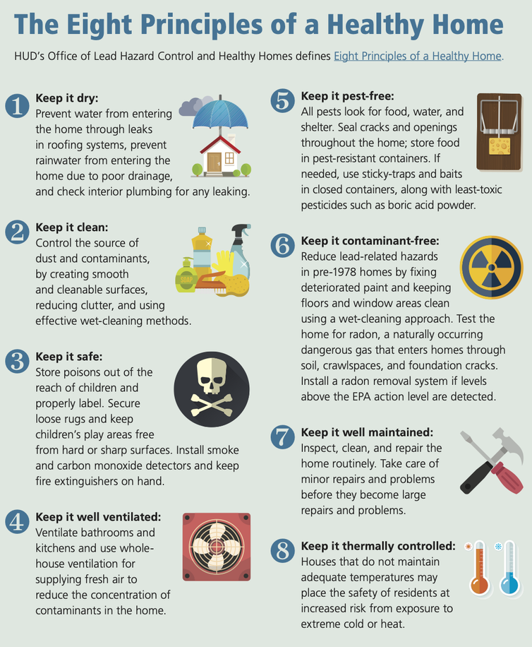 Graphic promoting cleanliness, pest control and other healthy home strategies.