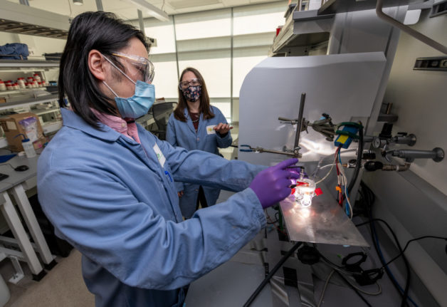 Guosong Zeng (left), a postdoctoral scholar, and Francesca Toma, a staff scientist, both in Berkeley Lab's Chemical Sciences Division, test an artificial photosynthesis device made of gallium nitride. Rather than degrading over time, which is typical for devices that turn water and light into hydrogen fuel, Toma and Zeng discovered that this device improves. (Credit: Thor Swift/Berkeley Lab)